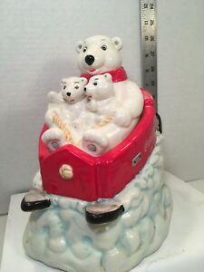 COCA COLA COOKIE JAR Mama & 2 Cub Polar Bears On Sled Gibson collectible
