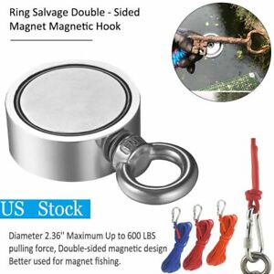 600lbs Pulling Force Big Fishing Magnet Rope Kit Round Double Sided Strong Hunt