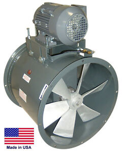 Tube Axial Duct Fan Belt Drive 18 1 2 Hp 3 Phase 230 460v 3850 Cfm
