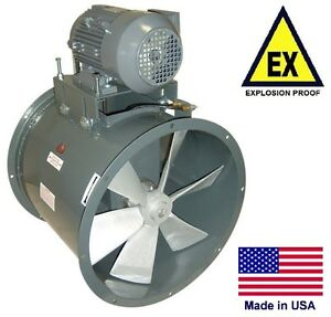 Tube Axial Duct Fan Explosion Proof 27 1 Hp 115 230v 9400 Cfm Wet
