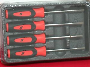 Snap On Tools 4 Piece Orange Mini Screwdriver Set Brand New