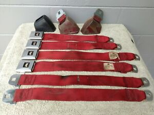 Gm Red Deluxe Bucket Seat Belt Set 1967 Gs 442 Cutlass Gto Lemans Chevelle Ss
