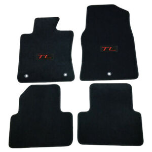 For 09 14 Acura Tl Floor Mats Carpet Front Rear Nylon Black W Red Tl