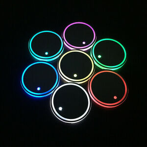 2pcs Colorful Led Car Cup Holder Pad Mat Auto Atmosphere Lights For Ford