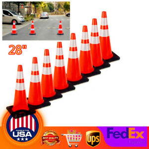 8pcs Pack 28 Durable Pvc Traffic Safety Cones With Reflective Strip Fluorescent