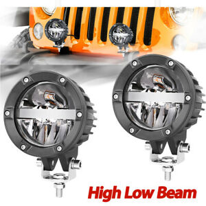 2x 4 Cree Round Led Driving Lights High Low Beam 6500k Driving Lamps Off Road