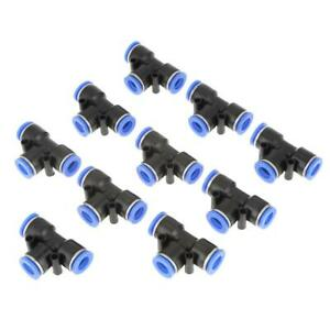10 Pcs 10mm 3 8 T Type Pneumatic Connector Air Line Quick Fittings Tube Joint
