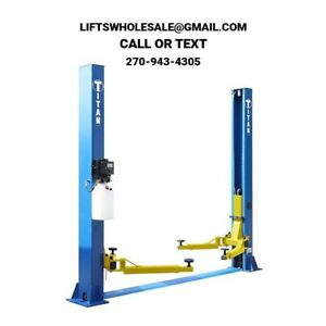 Titan 9 000 Lbs 2 post Auto Lift floorplate Model Asymmetric Arms 112 Tall