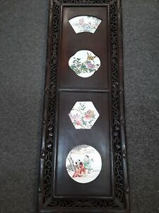 Antique Chinese Carved Wall Hanging Door Panel Teak Porcelain Inserts E