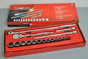 Snap On 1 2 Dr 12 Pt Sae General Service Set Ratchet Sockets Extension 317mpc