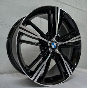 Set Of 4 Wheels 18 Inch Gloss Black Machined Rims Fits Bmw X5 2009