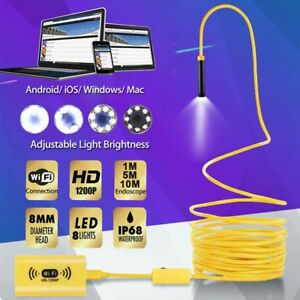 10m 8led Wifi Borescope Endoscope Snake Inspection Camera For Iphone Android Ios