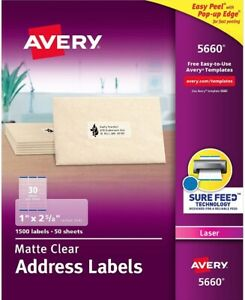 Avery Matte Frosted Clear Address Labels For Laser Printers 1 X 2 5 8 1500