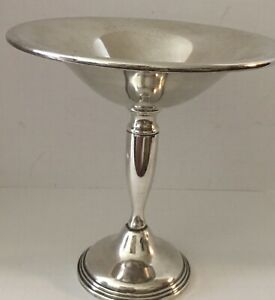 Vintage 6 1 2 Tall Sterling Silver Modernist Style Weighted Compote 249 Grams