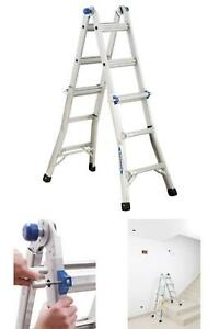 14 Ft Reach Aluminum Telescoping Multi position Ladder With 300 Lbs Capacity