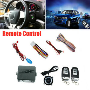 Car Auto Alarm System Security Push Button Remote Engine Start Led Sensor Lights