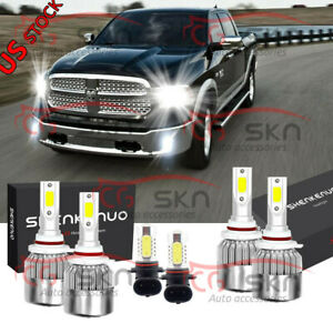 6x 6000k Led Headlight Hi lo Fog Bulbs For Dodge Ram 1500 2500 3500 2013 2015
