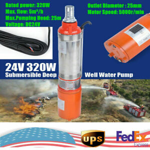 24v 320w Solar Water Pump Deep Well Solar Submersible Pump Head 25m Stainless Us