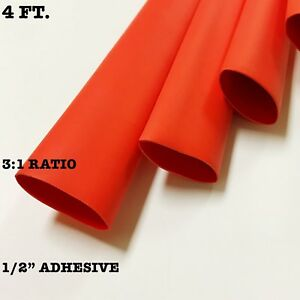 4 Ft Red 1 2 13mm Id Dual wall Adhesive 3 1 Ratio Heat Shrink Tubing M23053 4
