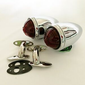Chrome Ford 1937 Tail Lights With Custom Lens S s Mounting Brackets 1 Pair
