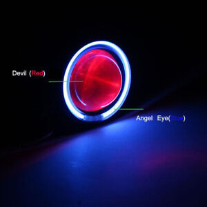 Hi Low Beam Led Projector Headlight For Motorcycle Angel Eye Red Devil Light New