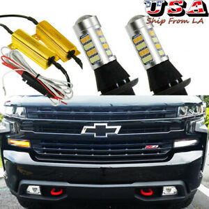 White Amber Led Swtichback Turn Signal Light Drl Bulbs For 2014 Chevy Silverado