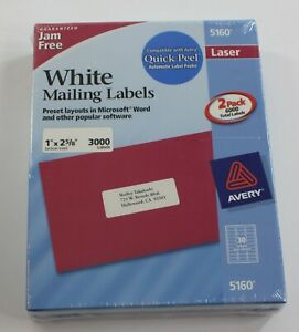 2 Box Of 3000 Avery 5160 Address Mailing Shipping Labels 1 X 2 5 8 6000 Total