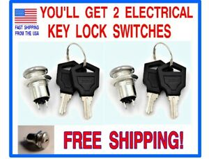 2 12 Volt D c On off Key Lock Switches With 4 Keys