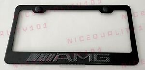 3d Mercedes Benz Amg Carbon Fiber Stainless Steel Finished License Plate Frame
