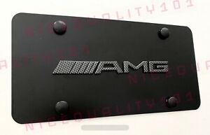 3d Mercedes Benz Carbon Fiber Amg Front Stainless License Plate Frame Holder