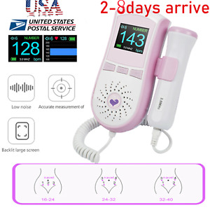 Color Lcd Pocket Fetal Doppler Prenatal Heart Rate Monitor 3mhz Probe Free Gel