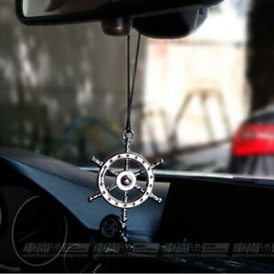 Helm Wheel Car Rearview Mirror Hanger Pendant Pilot Steer 3d Metal Auto Ornament