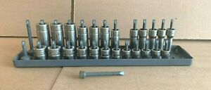 Snap on Tools 3 8 Drive Metric Lot Of 24 Sockets Sfsm8 sfsm19 Fm8 fm19