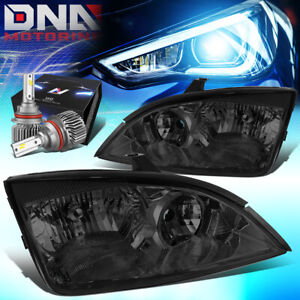 For 2005 2007 Ford Focus Replacement Headlight Lamps W Led Kit Slim Style Smoked