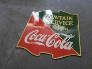 Vintage Coca Cola Fountain Service Porcelain Sign 22.5 X 25 Inches 2 sided