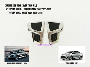 Chrome Side Vent Door Cover Trim For Toyota Hilux Fortuner Yaris Vios 2012 2015