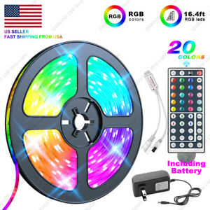 US Local 5M 16.4 ft LED Strip Light SMD 5050 RGB+44 Key Remote Controller+Power $9.59