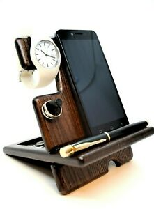 Wooden Phone Docking Station Desk Organizer Watch Stand Nightstand Handmade