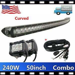 Curved 240w 50 Led Light Bar Single Row Cree 4 Pods 18w Wiring Offroad Truck