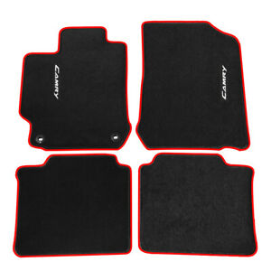 For 12 17 Toyota Camry Floor Mats Carpet Nylon Black W Red Trim Camry