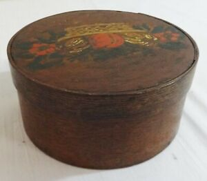 Antique Bent Wood Pantry Box Early Paint Decorated Basket Of Fruit