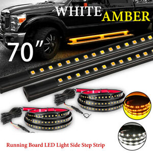 2x 70 Running Board Led Light Side Step Strip Bar White Amber Turn Signal Truck