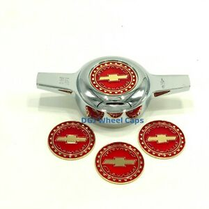 Chevy Ruby candy Red On Gold Lowrider Wire Wheel Metal Chips Emblems Size 2 25