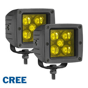 Pair 3 Cree 3000k Led Fog Light Cube Bar Spot Flood Pods Driving Amber Off Road