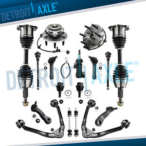 17pc Front Cv Axle Shaft Upper Control Arms Kit For Silverado Sierra 1500 4x4