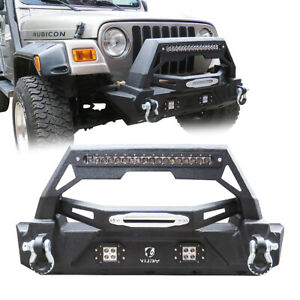 Vijay Fits 1987 2006 Jeep Wrangler Tj Front Bumper With Led Lights Winch Plate
