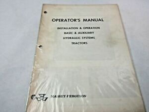Massey Ferguson Basic Auxiliary Hydraulic Systems Operator s Manual Tractors