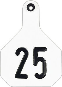 Y tex 4 Star Large Cattle Ear Tags White Numbered 151 175