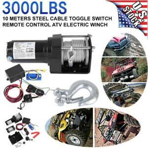 12v 3000lb Electric Winch Remote Waterproof Boat Steel Cable Kit Offroad Atv Us