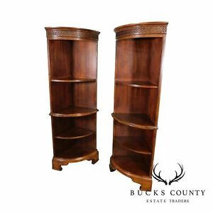 Georgian Style Mahogany Pair Corner Open Bow Front Bookcases